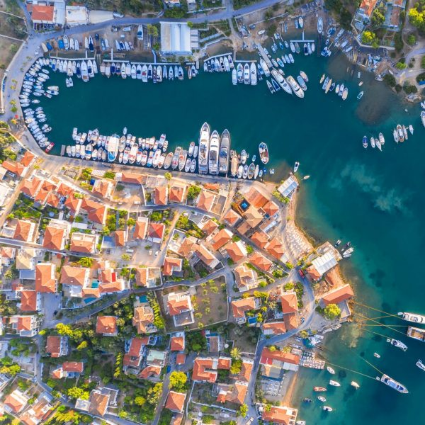 Aerial view of the harbour bay of Kouzounos, southeast of Spetses, Greece, Archipelago Saronic Islands